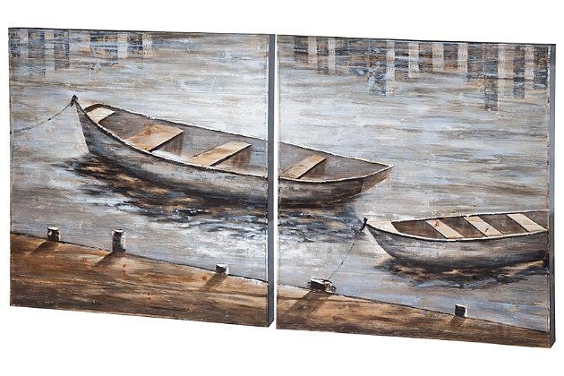 Wall Art Design Ideas: Two Paintings Boat Wall Art Canoe On Lake For Boat Wall Art (View 9 of 20)