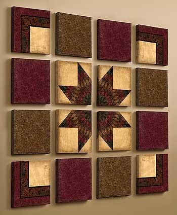 Wall Art Design: Quilt Wall Art Square 16 Piece Quilting Burgundy Regarding Burgundy Wall Art (Image 20 of 20)