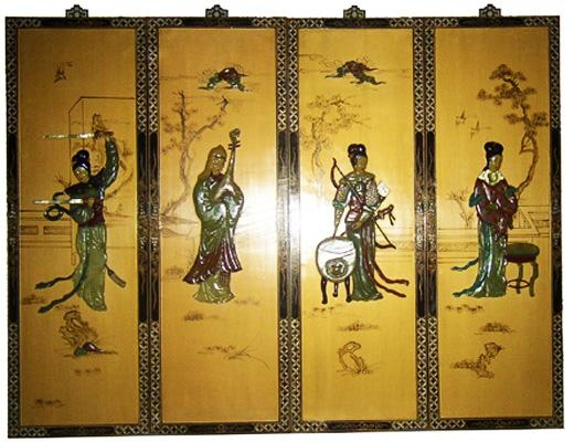 Wall Art Designs: Artistic Asian Wall Art Panels Metal Component Throughout Asian  Wall Art Panels