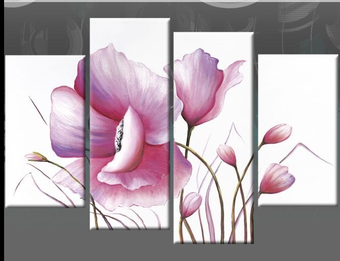 Wall Art Designs: Charming Floral Pictures Pink Flower Canvas Wall With Pink Flower Wall Art (View 14 of 20)