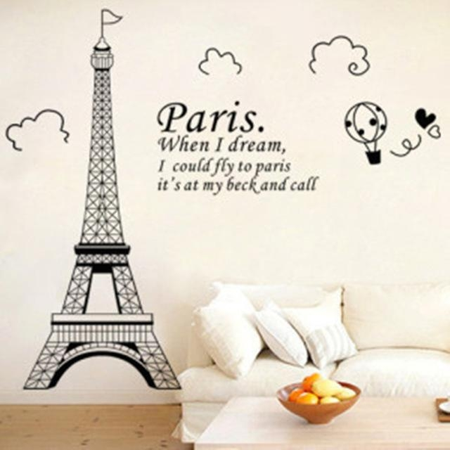 Wall Art Designs: Eiffel Tower Wall Art Free Shipping Personalized In Paris Vinyl Wall Art (Image 17 of 20)