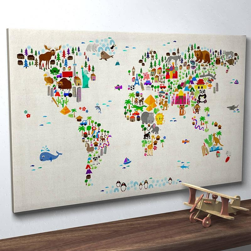 Wall Art Designs: Framed Map Of The World Wall Art Hanging Large Pertaining To Maps For Wall Art (Image 15 of 20)