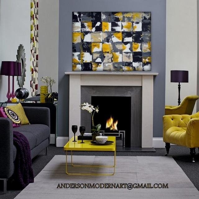 Wall Art Designs: Large Modern Wall Art Yellow And Gray Living With Regard To Large Yellow Wall Art (Image 17 of 20)