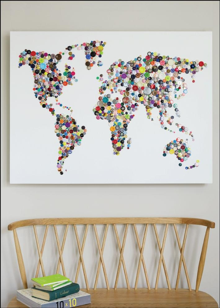 Wall Art Designs: Map Of World Wall Art Large Artistic Canvas Intended For Maps For Wall Art (Image 17 of 20)