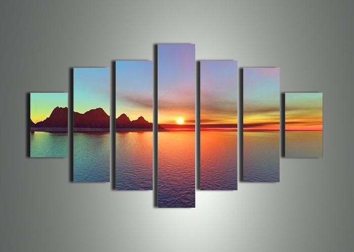 Wall Art Designs: Stunning Painted 7 Piece Canvas Wall Art With Intended For 7 Piece Canvas Wall Art (Image 19 of 20)