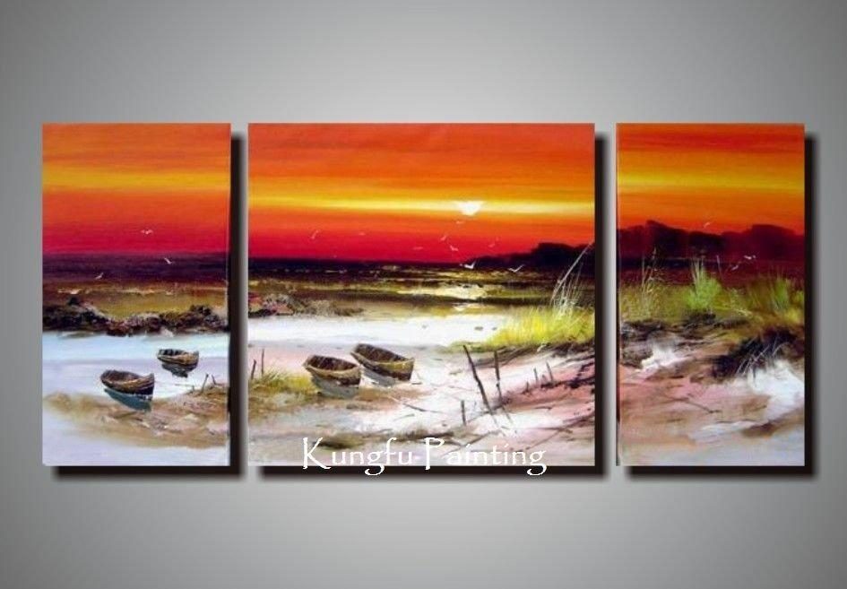 Wall Art Designs: Stunning Three Panel Canvas Wall Art Beach Decor Inside Three Panel Wall Art (Image 19 of 20)