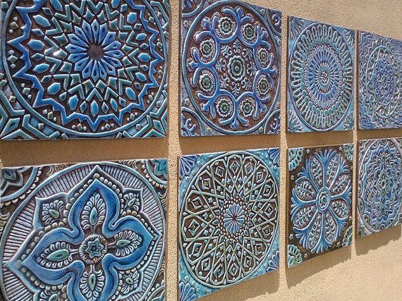 Wall Art Designs: Tile Wall Art Garden Decor Outdoor Wall Art Made Throughout Ceramic Tile Wall Art (Image 20 of 20)