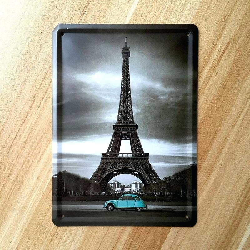 Wall Art ~ Eiffel And Old Red Car Landscape Art Glossy Metal Wall Within Eiffel Tower Metal Wall Art (Image 19 of 20)