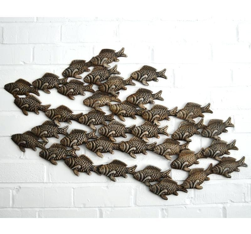Wall Art ~ Fish Metal Wall Art Suppliers Fish Metal Wall Art Intended For Shoal Of Fish Metal Wall Art (Image 20 of 20)