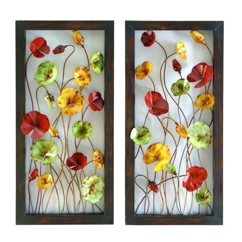 Wall Art ~ Flower Metal Wall Art Decor Verona Flowers Pair 30 With Regard To Red Flower Metal Wall Art (Image 17 of 20)