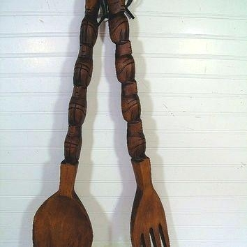 Wall Art ~ Giant Fork And Spoon Wall Art Big Wooden Fork And Spoon Throughout Large Utensil Wall Art (Image 16 of 20)