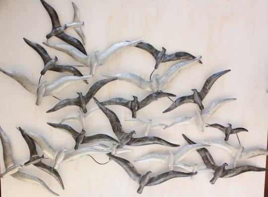 Wall Art Ideas Design : Flying Seagulls In Flock Of Birds Metal In Metal Wall Art Flock Of Seagulls (Image 19 of 20)