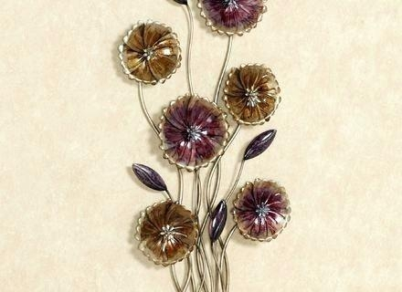 Wall Art ~ Metal Flower Wall Art Purple Flower Metal Wall Art With Purple Flower Metal Wall Art (Image 18 of 20)