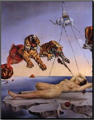 Wall Art Modern,dream Caused Tigers,salvador Dali Painting, Oil Regarding Salvador Dali Wall Art (Image 20 of 20)