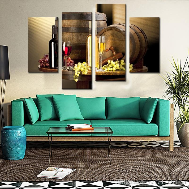 Wall Art Painting Red Grapes Wine Barrel And Prints On Canvas The In 4 Piece Wall Art (Image 18 of 20)