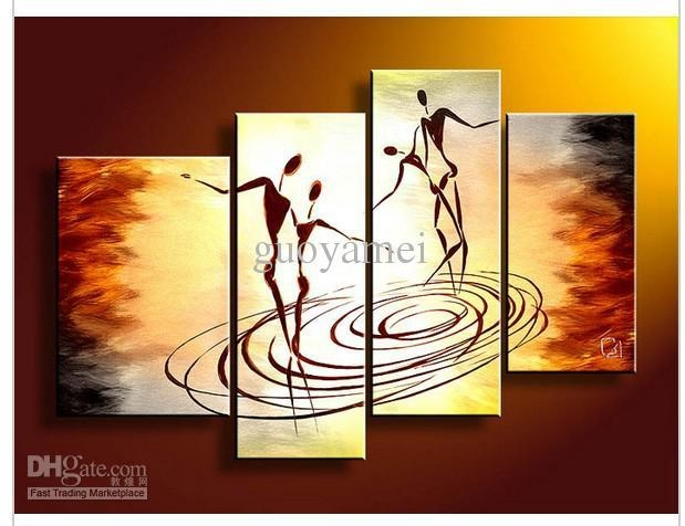 Wall Art People Dance Of Love Oil Painting On Canvas Oil Painting Throughout 4 Piece Wall Art (Image 19 of 20)