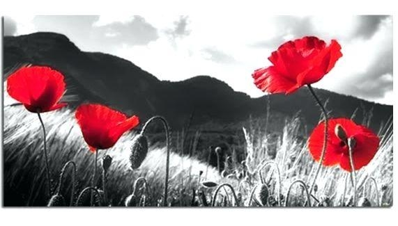 Wall Art ~ Poppy Wall Art In Red Red Poppies On White 4 Panel Regarding Red Poppy Canvas Wall Art (Image 12 of 20)