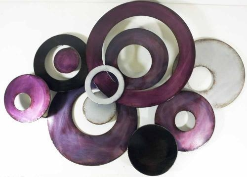 Wall Art – Purple Linked Circle Disc Abstract Intended For Purple Abstract Wall Art (Image 18 of 20)