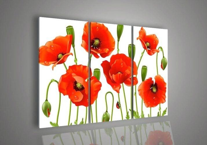 Wall Art ~ Red Poppy Canvas Wall Art Red Poppy Flower Wall Art Red Inside Red Poppy Canvas Wall Art (Image 13 of 20)