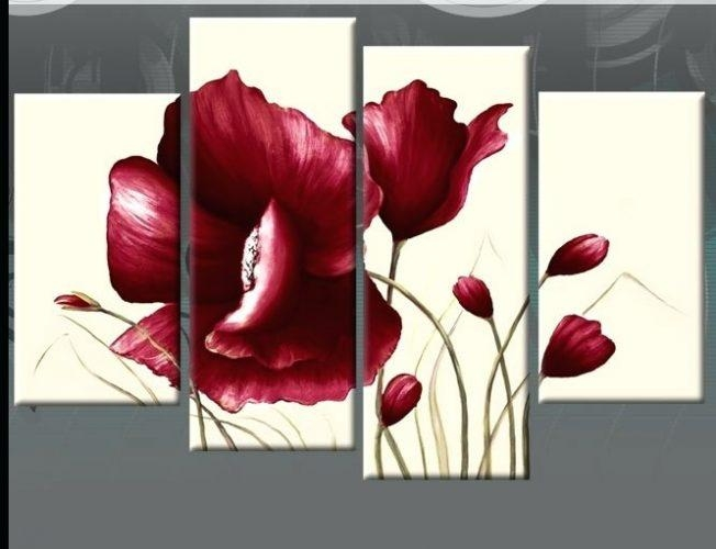 Wall Art ~ Red Poppy Canvas Wall Art Red Poppy Metal Wall Art Dark Within Red Poppy Canvas Wall Art (Image 14 of 20)