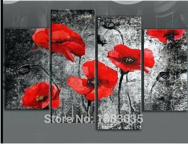 Wall Art ~ Red Poppy Canvas Wall Art Red Poppy Wall Art Painting Intended For Red Poppy Canvas Wall Art (Image 17 of 20)