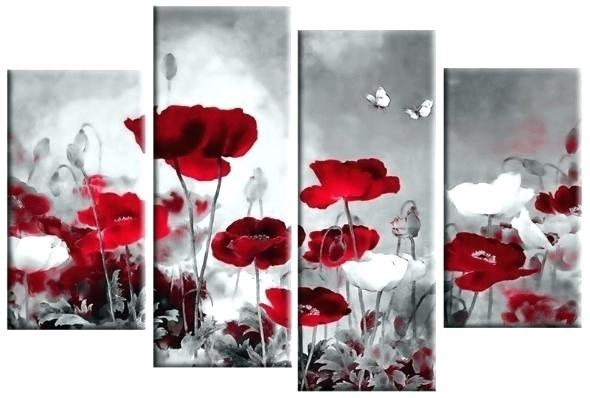 Wall Art ~ Red Poppy Canvas Wall Art Red Poppy Wall Art Painting Within Red Poppy Canvas Wall Art (Image 18 of 20)