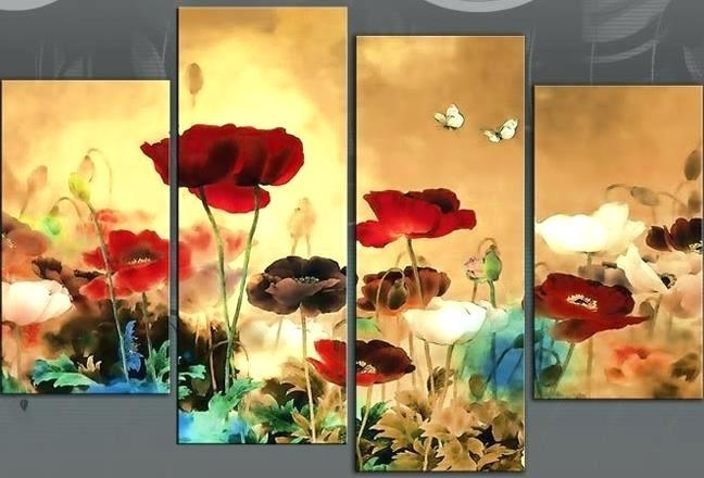 Wall Art ~ Red White And Blue Wall Art Field Poppies Floral Poppy In Blue And Cream Wall Art (Image 20 of 20)