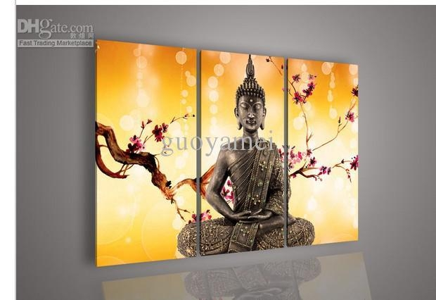 Wall Art Religion Buddha Orange Oil Painting On Canvas For Regarding 3 Piece Wall Art (Image 20 of 20)