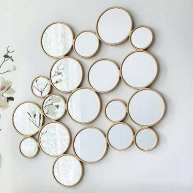 Wall Art ~ Round Mirror Wall Art Carla Silver Art Deco Round Pertaining To Mirror Circles Wall Art (Image 18 of 20)