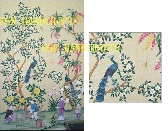 Wall Art ~ Silk Wallpaper Hand Painted Wallpaper Chinoiserie With Regard To Chinoiserie Wall Art (Image 20 of 20)