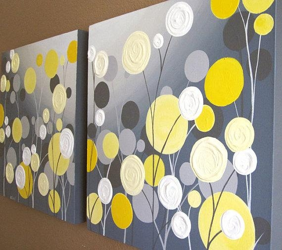 Wall Art Textured Yellow And Grey Abstract Flower Garden Two Within Yellow Grey Wall Art (Image 12 of 20)