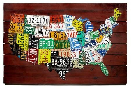 Wall Art: Us Map Made From State License Plates Pertaining To United States Map Wall Art (Image 18 of 20)