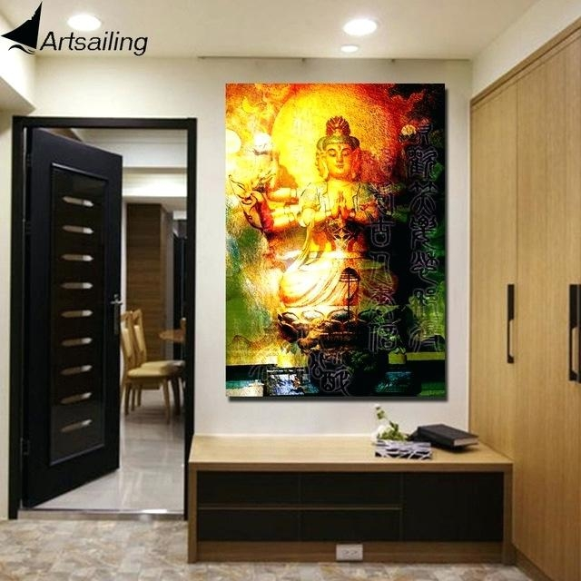 Wall Art ~ Visual Art Decor Large Buddha Painting Prints Wall Art Regarding Large Buddha Wall Art (View 17 of 20)
