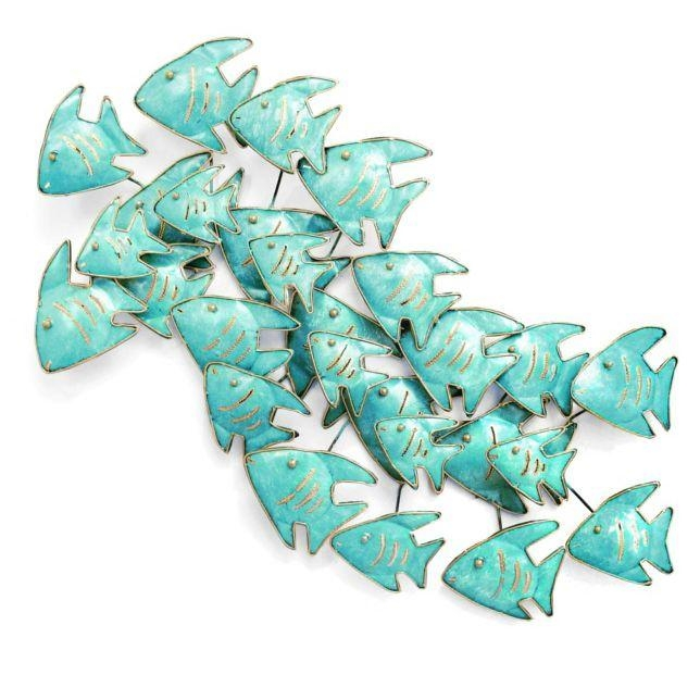 Wall Art & Wall Sculpture | The Red Gecko With Shoal Of Fish Metal Wall Art (Image 19 of 20)