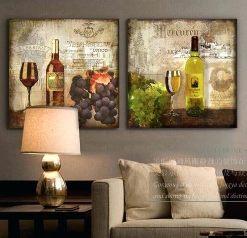 Wall Art ~ Wine Themed Canvas Art Wine Bottle Canvas Art Canvas Regarding Wine Theme Wall Art (Image 13 of 20)