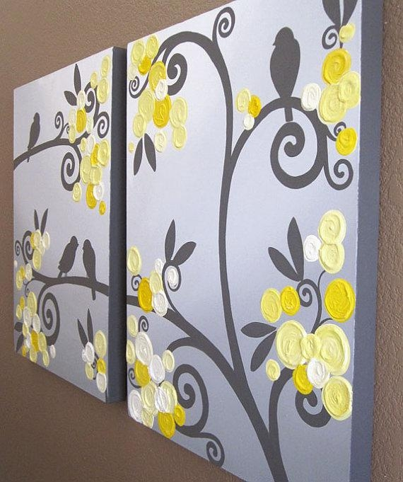 Wall Art Yellow Grey Flowers And Birds Textured Acrylic With Regard To Yellow Grey Wall Art (Image 13 of 20)