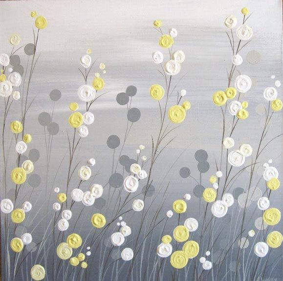 Wall Art Yellow Grey Whimsical Flower Field Textured Acrylic With Regard To Yellow Grey Wall Art (Image 14 of 20)