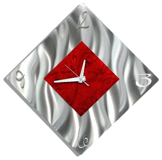 Wall Clock ~ Abstract Metal Wall Art With Clock Silver And Red For Abstract Wall Art With Clock (Image 12 of 20)