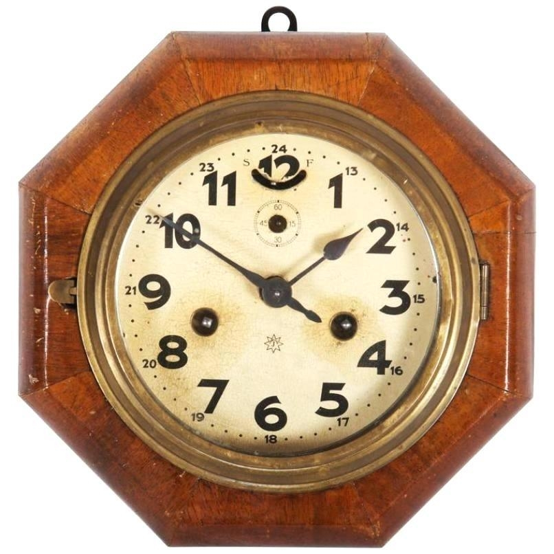 Wall Clock ~ Art Deco French Wood Wall Clock 30 Hour Movement Art For Large Art Deco Wall Clocks (Image 11 of 20)