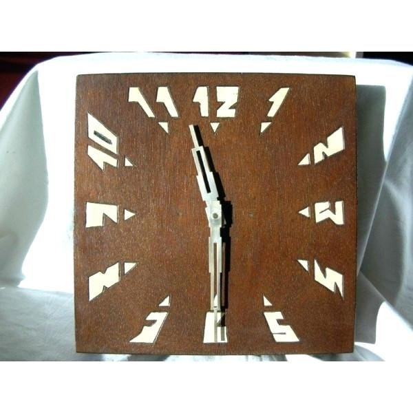 Wall Clock ~ Art Deco French Wood Wall Clock 30 Hour Movement Art Intended For Large Art Deco Wall Clocks (Image 14 of 20)