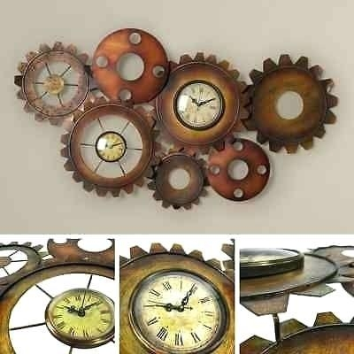 Wall Clock ~ Metal Gear Solid Wall Clock Metal Moving Gear Wall In Large Vintage Wall Art (View 19 of 20)