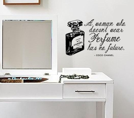 Wall Decal Quote Coco Chanel Perfume Quote And Bottle For Coco Chanel Wall Stickers (View 4 of 20)