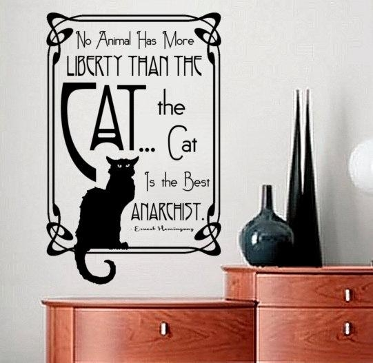 Wall Decal Quote Ernest Hemingway Quote About Cats Art Throughout Art Nouveau Wall Decals (View 4 of 20)