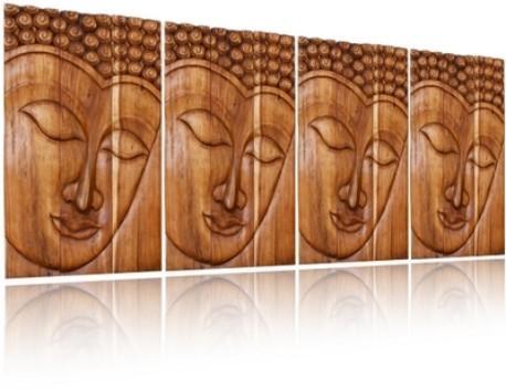 Wall Decor Buddha Carved Wood Art Panel|Serene Ushnisha Thai Decor Throughout Buddha Wood Wall Art (Image 14 of 20)