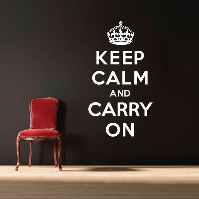 Wall Designer | Quote Vinyl Wall Art Sticker – Keep Calm And Carry On Within Keep Calm And Carry On Wall Art (View 8 of 20)