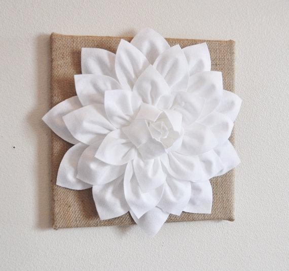 Wall Flower White Dahlia On Burlap 12 X12 Canvas Wall For White 3D Wall Art (View 3 of 20)