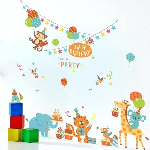 Wall Ideas : Birthday Wall Decorations Birthday Wall Decorations Throughout Happy Birthday Wall Art (Image 19 of 20)