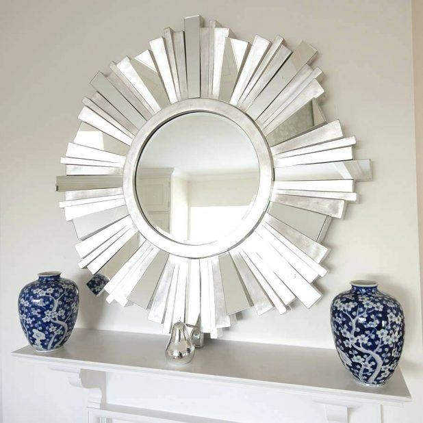 Wall Ideas : Crosby Metal Framed Mirrors Set Of 5 Contemporary In Small Round Mirrors Wall Art (Image 17 of 20)