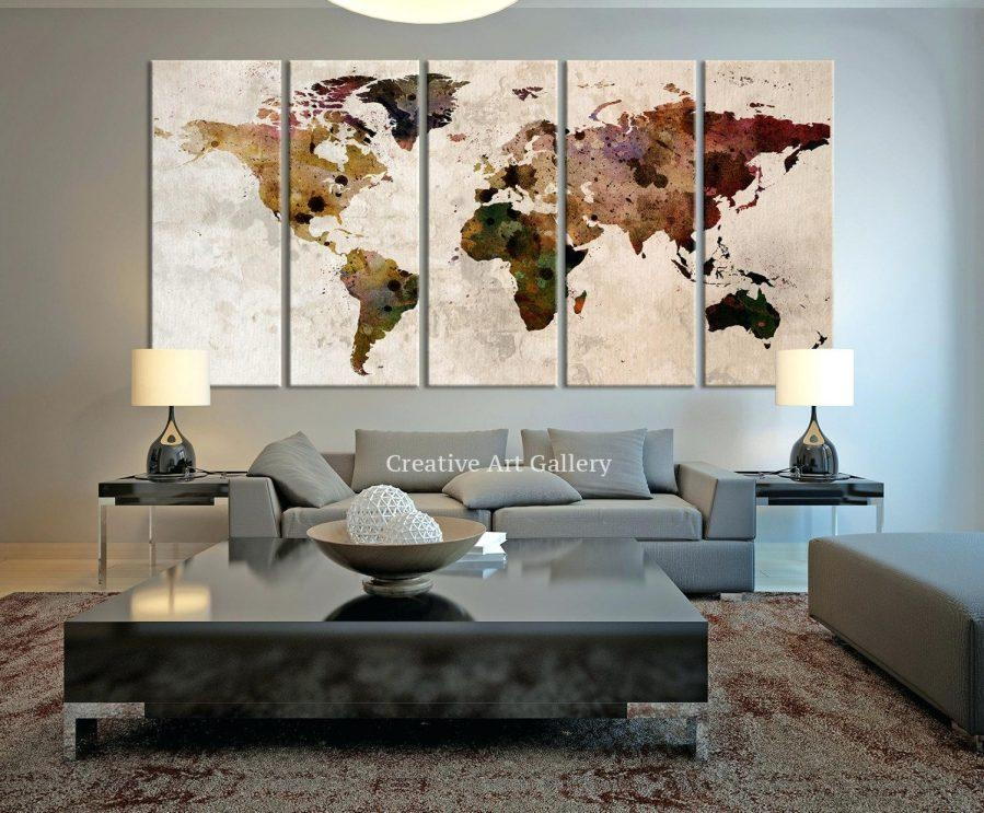 Wall Ideas : World Map Wall Decor Large Canvas Print Rustic World Within Large Vintage Wall Art (View 3 of 20)