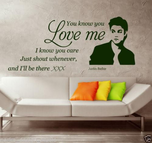Wall Quotes Stickers Justin Bieber Wall Stickers Wall Art Decal With Justin Bieber Wall Art (Image 18 of 20)